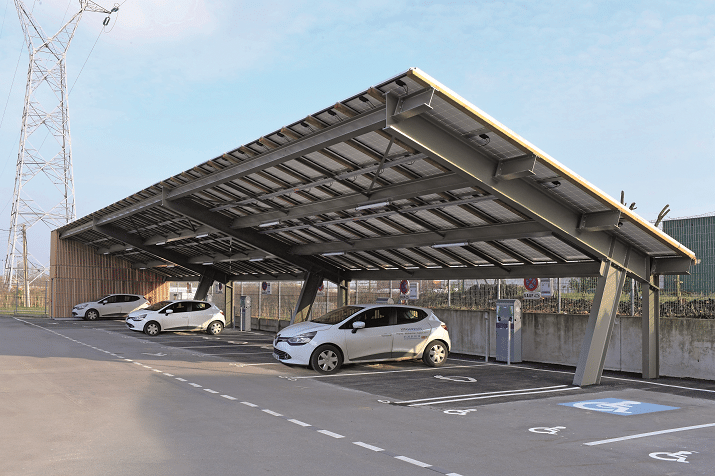 Solar carport with electric vehicle charging stations in Lomme